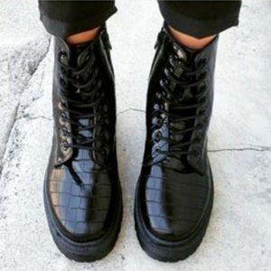 Black Combat Boots in Embossed Crocodile